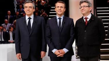 François Fillon, Emmanuel Macron et Jean-Luc Mélenchon.