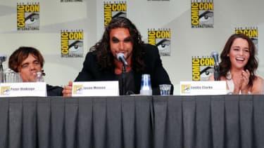 Jason Momoa, aux côtés de Peter Dinklage et Emilia Clarke, au Comic Con de San Diego en 2011