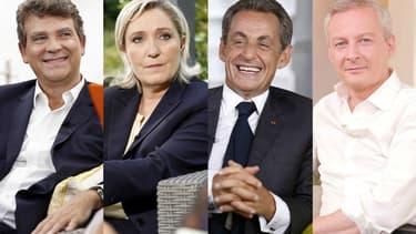 """Arnaud Montebourg, Marine Le Pen, Nicolas Sarkozy et Bruno Le Maire, premiers invités de l'émission """"Une ambition intime"""" sur M6."""