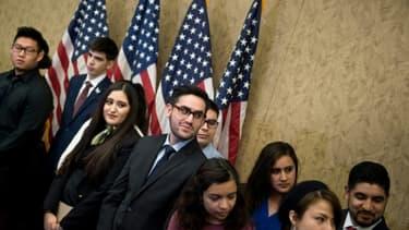 """De jeunes sans-papiers, surnommés les """"Dreamers"""", invités par les démocrates au Congrès à Washington le 30 janvier 2018"""