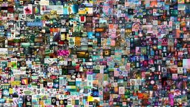 Détail d'un collage de l'artiste américain Beeple, vendu jeudi 69,3 millions de dollars.