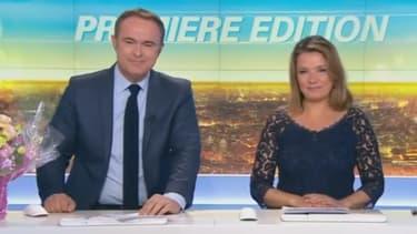 """Christophe Delay et Pascale de La Tour du Pin, sur le plateau de leur dernière """"Première édition"""" présentée ensemble"""