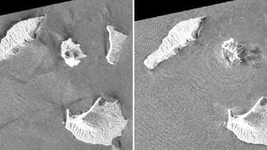 Images satallites du volcan de l'Anak Krakatoa
