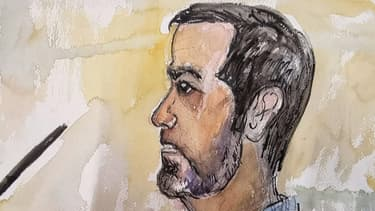 Un dessin de presse montre Nordahl Lelandais lors de son procès devant la cour d'assises de Chambéry (Savoie), le 3 mai 2020.