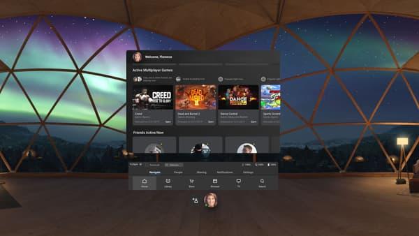 L'écran d'accueil de l'Oculus Quest