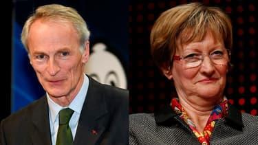 Jean-Dominique Senard, président de Michelin, et Nicolas Notat, ancienne dirigeante de la CFDT.