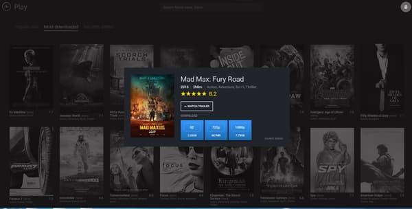 Capture d'écran du site Play