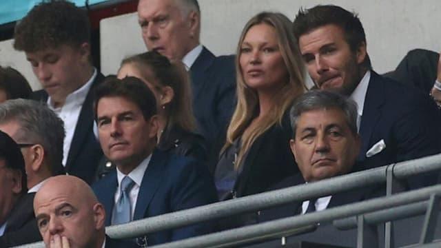Tom Cruise, Kate Moss et David Beckham pendant la finale de l'Euro à Wembley le 11 juillet 2021
