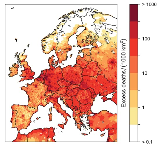 Répartition régionale des taux estimés de surmortalité annuelle due aux maladies cardiovasculaires attribués à la pollution atmosphérique en Europe.