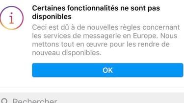 Certaines fonctionnalités de Messenger et Instagram ont été temporairement désactivées.