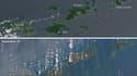 Vue satellite des Îles Vierges, avant et après le passage de l'ouragan Irma.