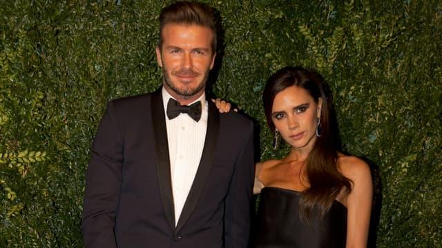 David et Victoria Beckham, lors de la cérémonie des Evening Standard Theatre Awards à Londres.