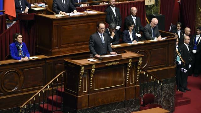 François Hollande devant le Congrès réuni à Versailles.