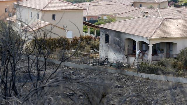 Une maison de Biguglia épargnée de justesse par le feu, photo prise le 26 juillet 2017