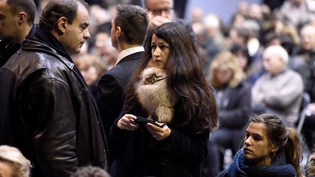 Zineb El Razhaoui à l'enterrement de Stéphane Charbonnier, dit Charb, le 16 janvier 2015 à Pontoise.
