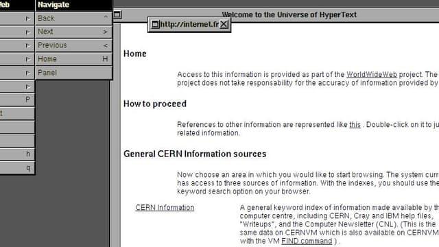 Une simulation du premier navigateur Web.