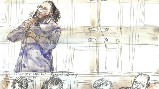 Dessin représentant Abdelkader Merah lors du procès.