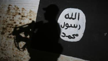 Un membre des forces irakiennes passe devant le logo de Daesh dans le village d'Albu Sayf, près de Mossoul en Irak, le 1er mars 2017. Photo d'illustration