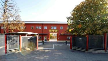 L'entrée de l'usine historique de Maranello, en Italie.
