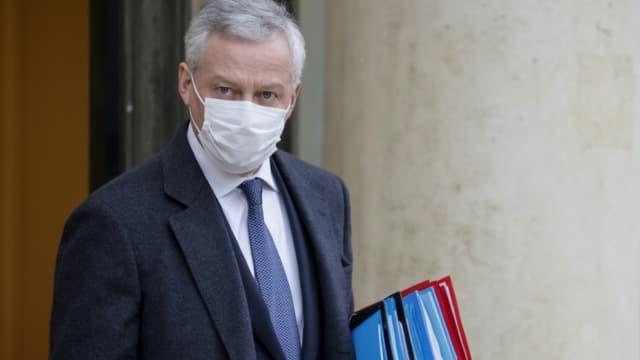 Le ministre de l'Economie Bruno Le Maire à l'Elysée, le 13 janvier 2021