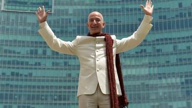 Jeff Bezos, patron d'Amazon, lors d'une visite en Inde.