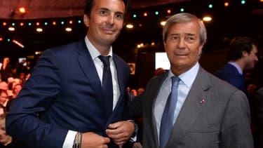 Yannick Bolloré, PDG d'Havas et administrateur de Vivendi et son père, Vincent Bolloré, président du conseil de surveillance de Vivendi.