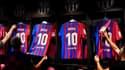 Le maillot du Barça floqué Lionel Messi, à Barcelone le 7 août 2021