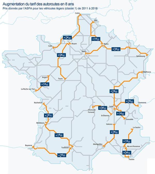 De 70 centimes à 9,40 euros, voici les principales hausses des tarifs sur autoroute ces dernières années.