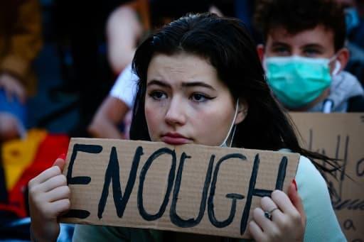 Manifestante dénonçant les inégalités raciales à Brisbane, en Australie, le 6 juin 2020.