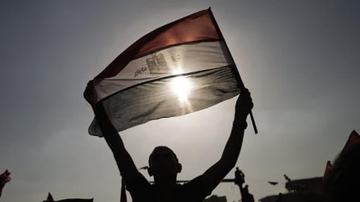 Un homme brandit un drapeau égyptien pour fêter la destitution de Mohamed Morsi.