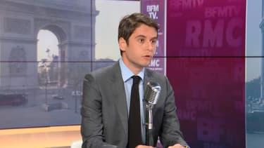 Le porte-parole du gouvernement, Gabriel Attal, sur BFMTV-RMC, le 1er avril 2021.