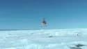 Des images de l'hélicoptère chinois arrivant jeudi matin en Antarctique pour évacuer les passagers du navire russe bloqué depuis le 24 décembre 2013