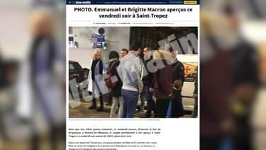 Le couple présidentiel dans les rues de Saint-Tropez ce vendredi soir.