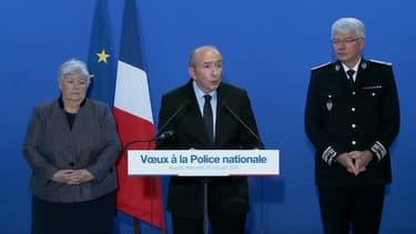 Gérard Collomb lors de ses voeux aux policiers à Rouen.