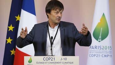Nicolas Hulot, durant la conférence de presse à l'Elysée, pour la conférence sur le climat.