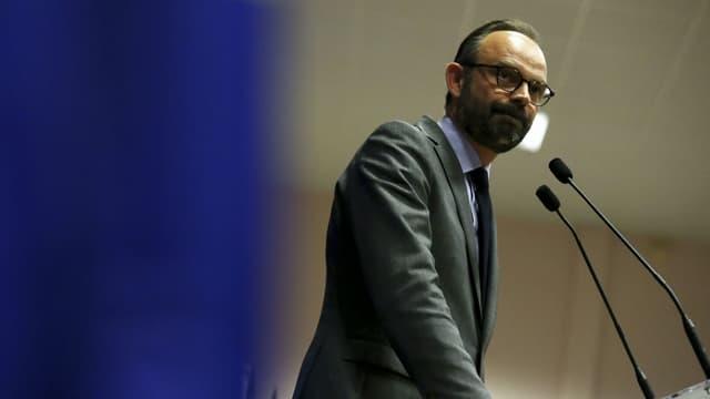 Edouard Philippe présentant les candidats aux législatives de La République en marche, le 11 mai 2017 au Havre.