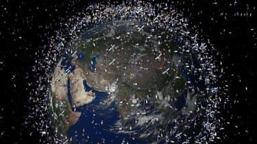 Vue d'artiste des quelque 20.000 débris qui tournent sans fin dans le voisinage immédiat de la Terre.