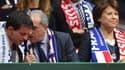 Le Premier ministre Manuel Valls, le président de la FFT Jean Gachassin et la maire de Lille Martine Aubry à la finale de la Coupe Davis entre la France et la Suisse