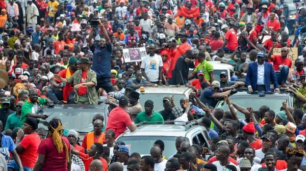 Manifestation contre le troisième mandat du président Alpha Condé à Conakry, en Guinée, le 24 octobre 2019