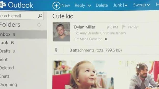 La nouvelle interface du service de messagerie de Microsoft, tirée d'une présentation vidéo.