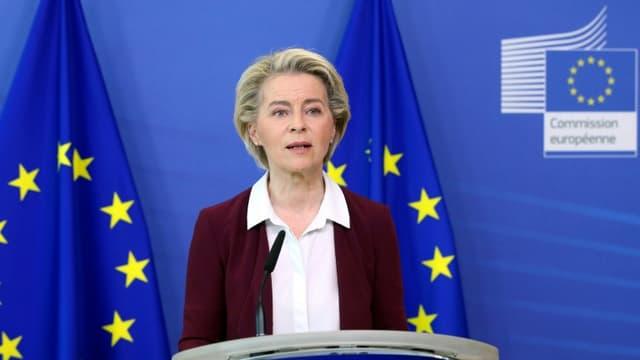 La présidente de la Commission européenne, Ursula von der Leyen, lors d'une conférence de presse à Bruxelles le 10 juillet 2021.
