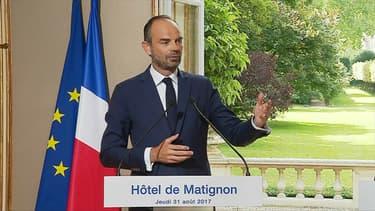 Edouard Philippe durant la conférence de presse du 31 août 2017