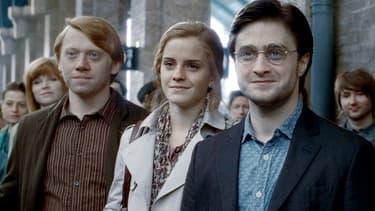 """Harry au côté de Ron et d'Hermione à la fin du 7e volet de ses aventures, """"Les Reliques de la Mort"""""""
