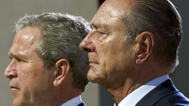 Jacques Chirac avec George W. Bush en 2004