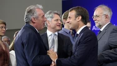 François Bayrou et Emmanuel Macron à Aix-la-Chapelle, le 10 mai 2019.