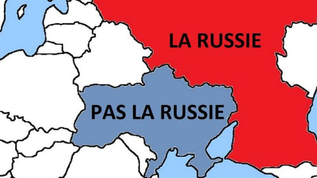 La première carte, tweetée par le Canada en français et en anglais, rappelle aux soldats russes l'emplacement de la frontière ukrainienne.