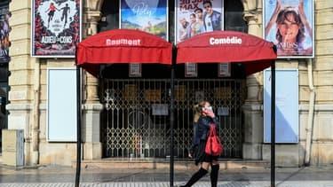 Un cinéma fermé à Montpellier, le 13 novembre 2020 lors du deuxième confinement en France