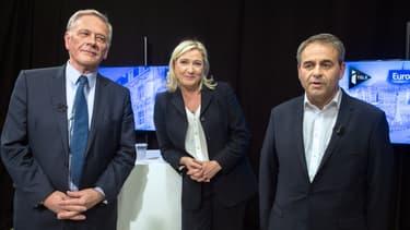 Pierre de Saintignon, Marine Le Pen et Xavier Bertrand, têtes de liste aux régionales dans le Nord-Pas-de-Calais-Picardie.