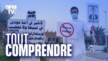 Deux personnes manifestent contre Macron et la France au Koweït, samedi 24 octobre 2020