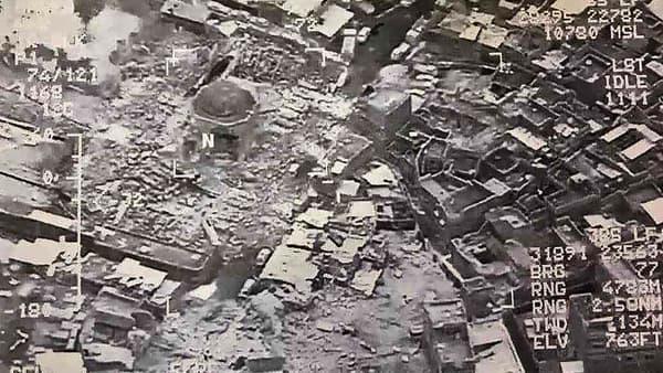 Photo satellite diffusée le 21 juin montrant la destruction de la mosquée.